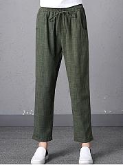 Elastic-Waist-Pocket-Pegged-Casual-Pants