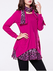 Autumn Spring  Polyester  Women  Round Neck  Asymmetric Hem  Leopard Printed Long Sleeve T-Shirts