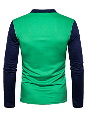 Polo Collar Men Color Block T-Shirt