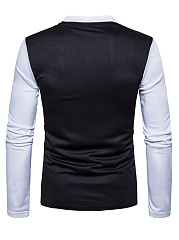 Polo Collar  Color Block  Long Sleeve Long Sleeves T-Shirts