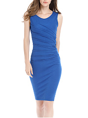 Round Neck Plain Ruched Slit Bodycon Dress