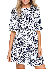 Ruffled Hem Bell Sleeve Belt Blue And White Porcelain Printed Skater Dress