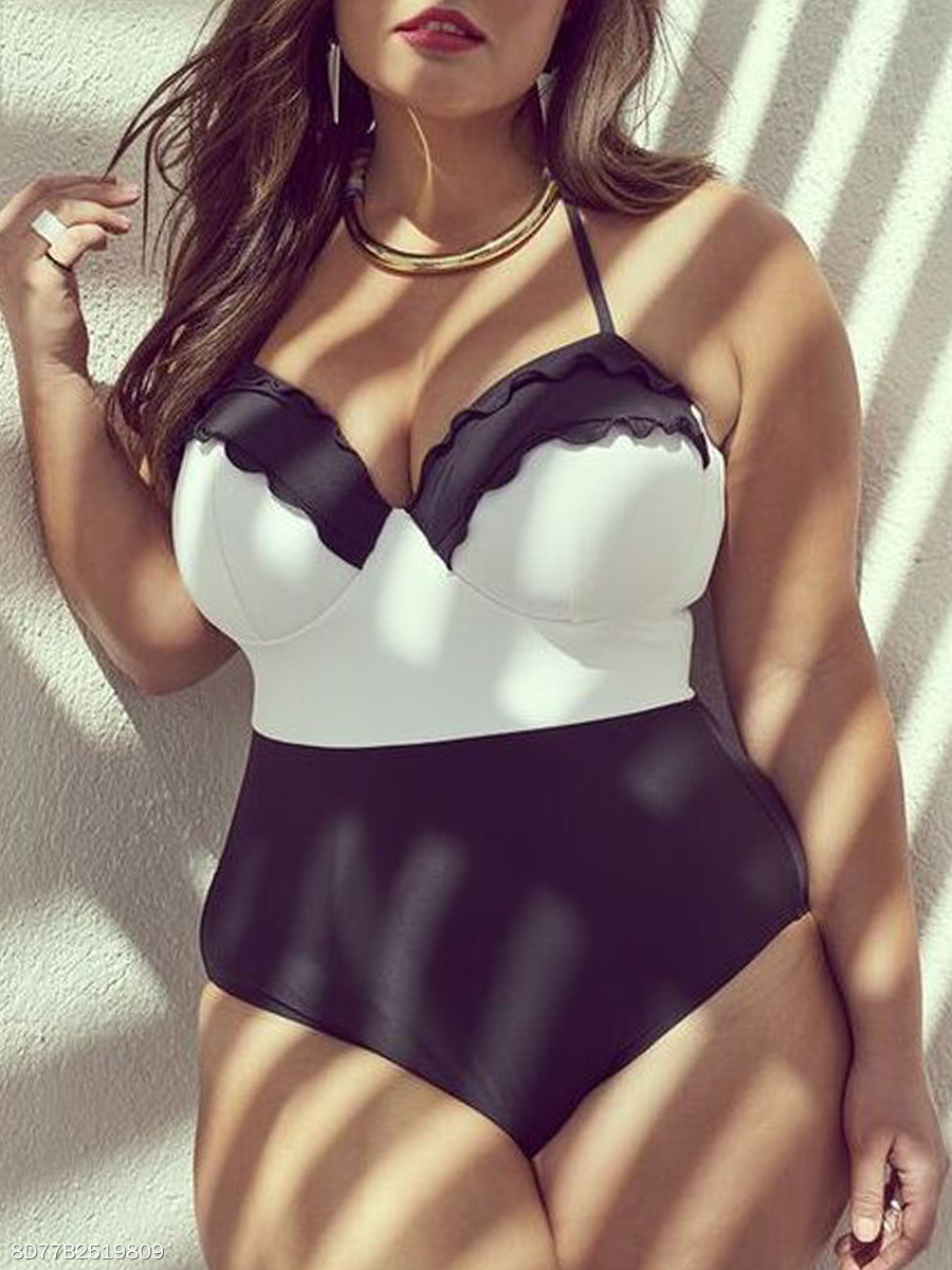 Tie Collar Plus Size One Piece
