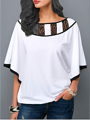 Round Neck  Patchwork Blouses