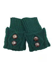 Decorative Buttons Thicken Winter Leg Warmers