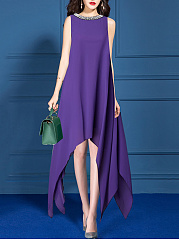 Round Neck Chiffon  Plain Maxi Dress