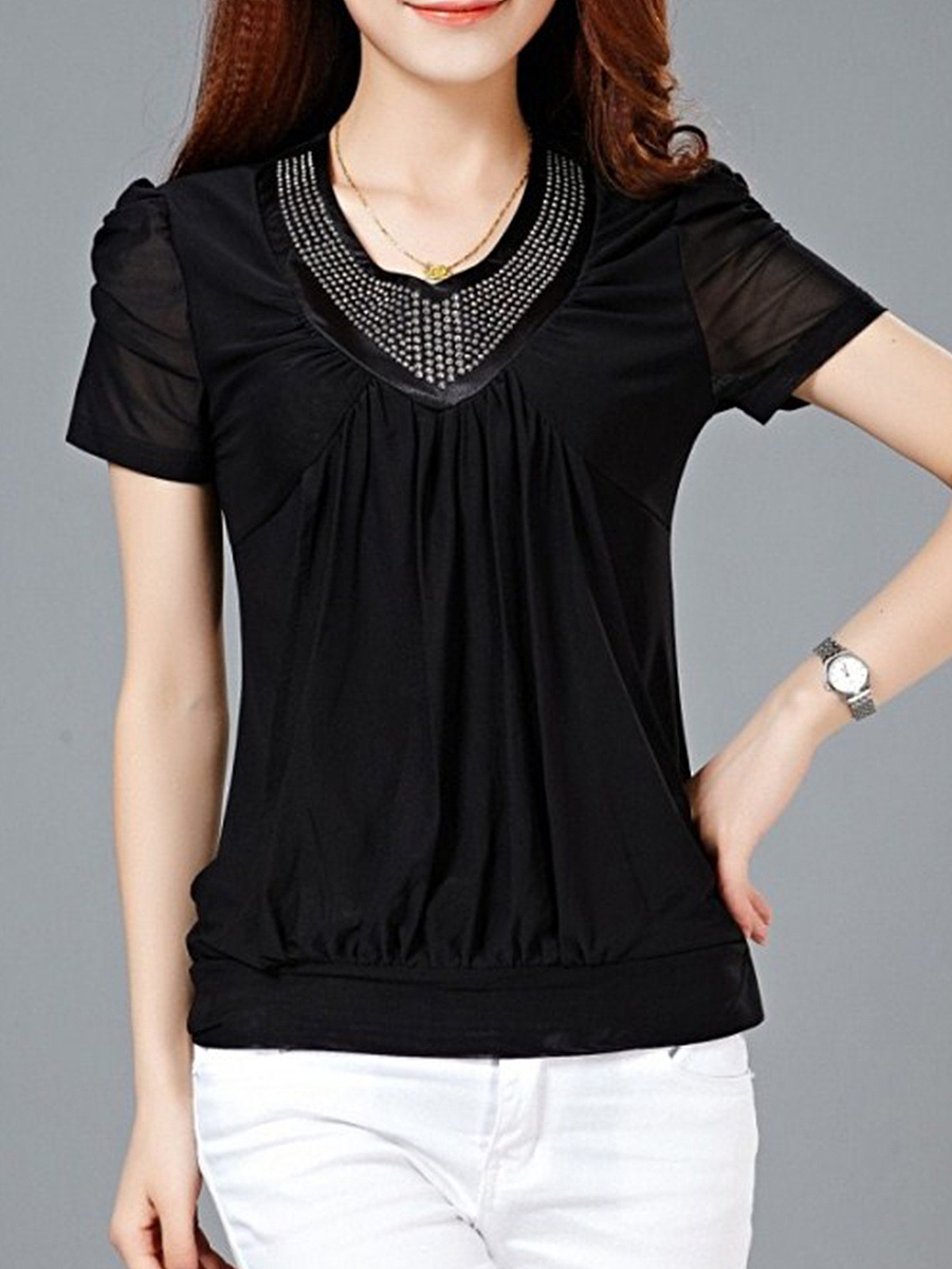 Summer  Polyester  Women  V-Neck  Rivet  Hollow Out Plain Short Sleeve T-Shirts