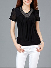 Summer  Polyester  Women  V-Neck  Rivet  Hollow Out Plain  Short Sleeve Blouses