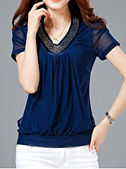 V-Neck  Rivet  Hollow Out Plain  Puff Sleeve Blouse
