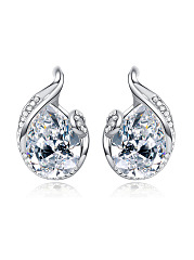 Pair Of Chic Style Waterdrop Shape Faux Crystal Earring