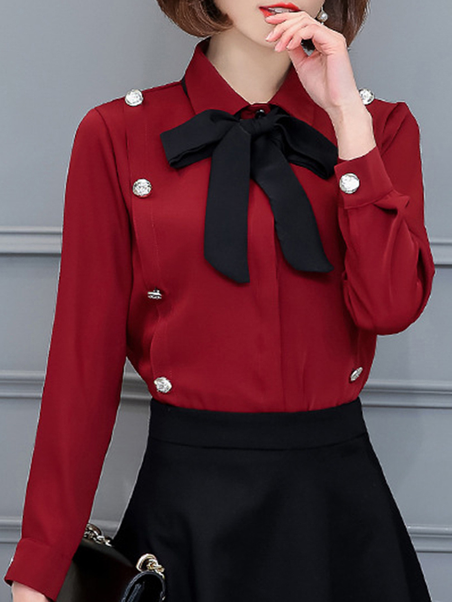 Turn Down Collar  Bowknot  Decorative Button Blouse