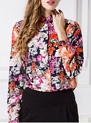 Autumn Spring  Chiffon  Women  Turn Down Collar  Single Breasted  Floral Printed  Long Sleeve Blouses