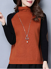 High Neck  Color Block  Long Sleeve Sweaters Pullover