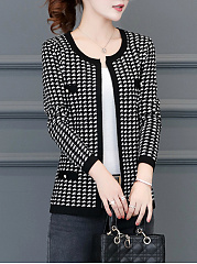 Collarless  Beading  Houndstooth  Long Sleeve Cardigans