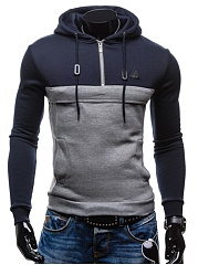 Color Block Men Pocket Zips  Hoodie