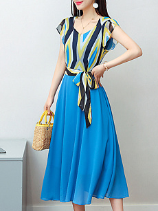 Round Neck  Bowknot  Belt  Printed Maxi Dress