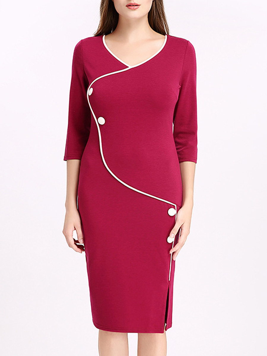 V-Neck  Contrast Trim  Decorative Button  Plain  Cotton Bodycon Dress