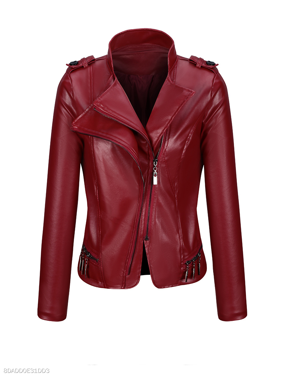Lapel Fashion Zips  Plain Faux Leather Biker Jacket