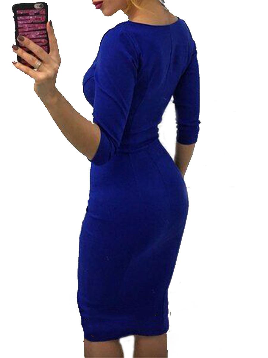Square Neck  Plain  Blend Bodycon Dress