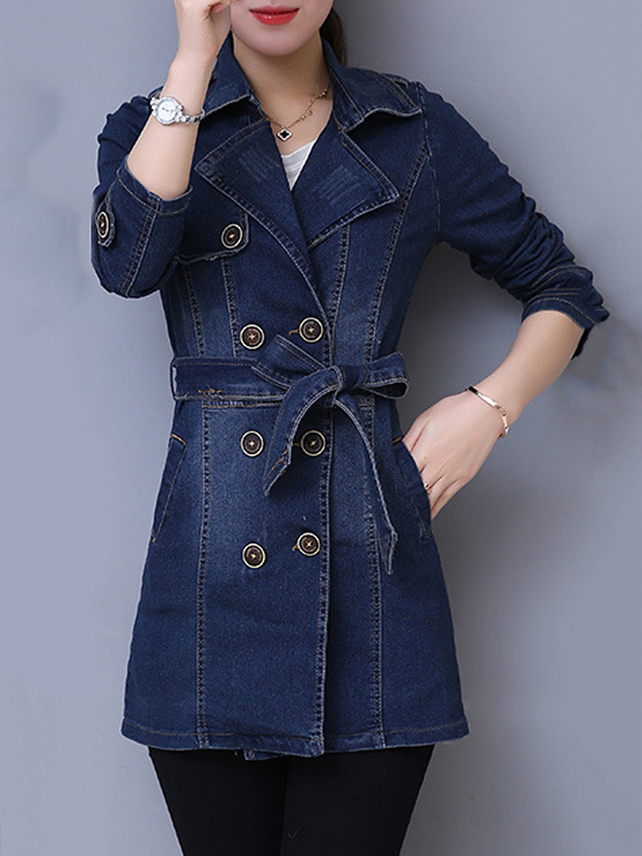Lapel Denim Belt Double Breasted Light Wash Coat