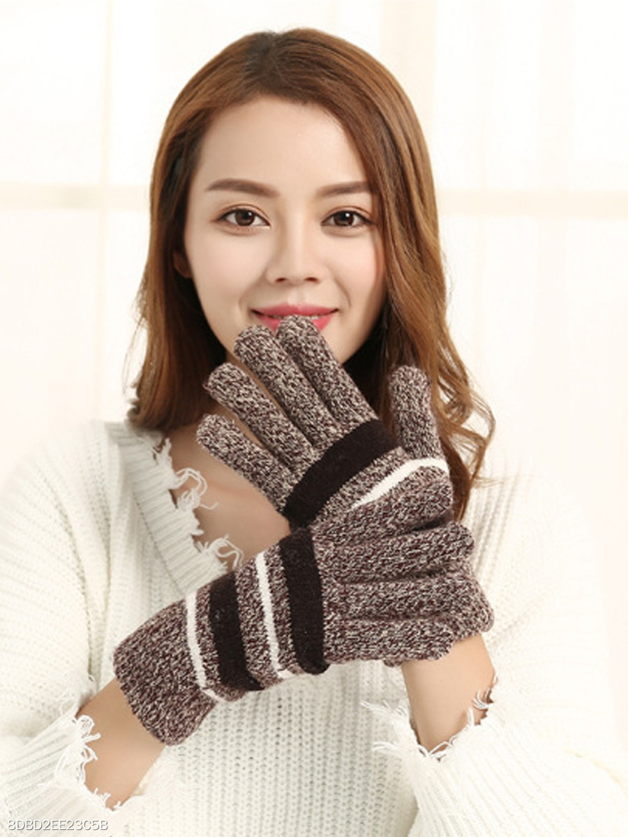 All-Match Warm Thick Woolen Striped Cotton Gloves For Man&Women