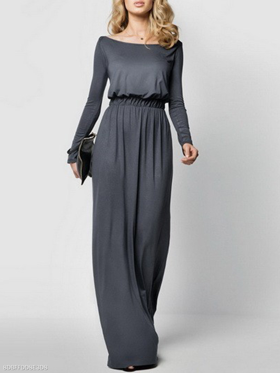 Boat Neck Plain Elastic Waist Maxi Dress
