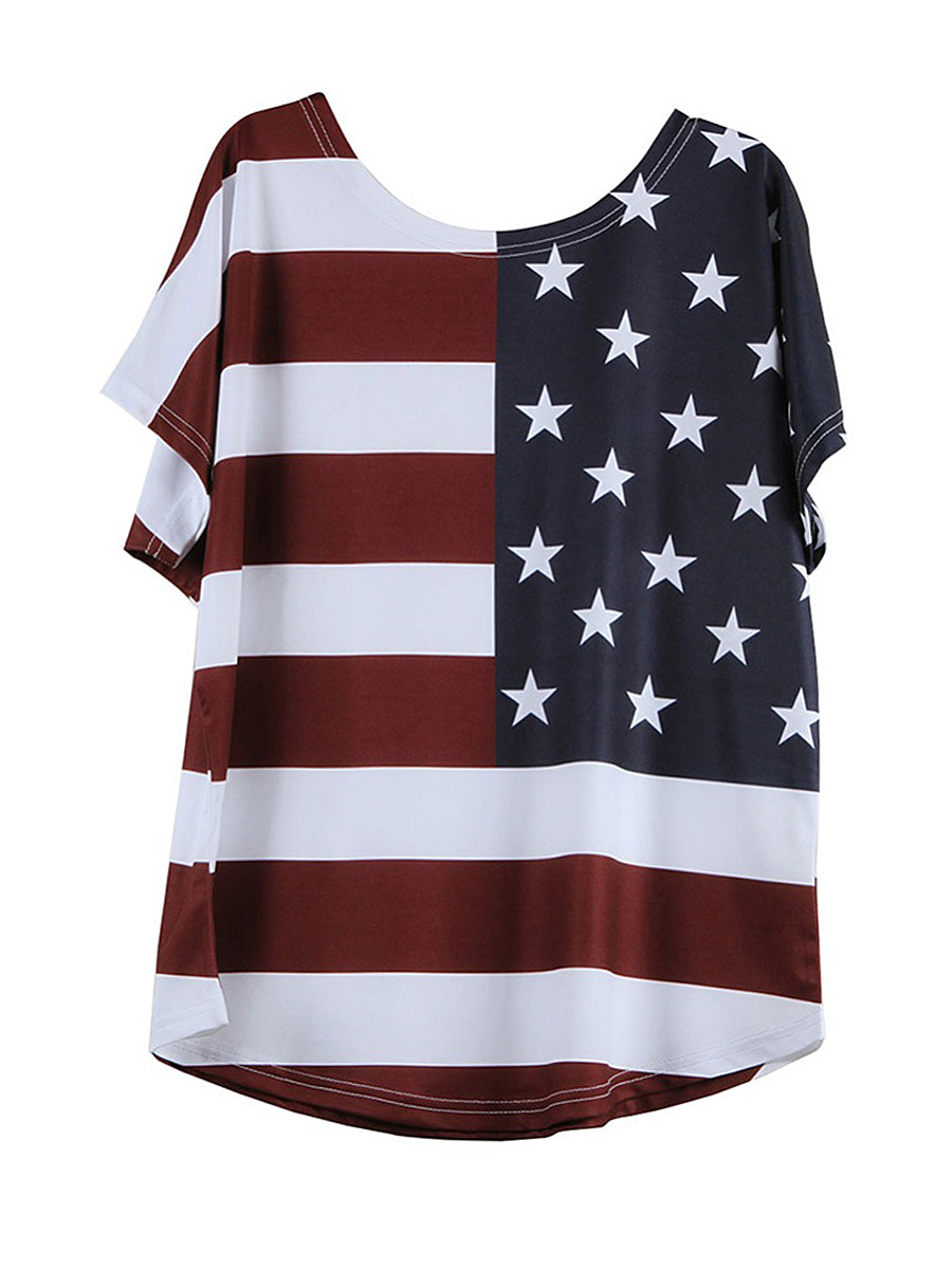 US Flag Printed Round Neck Plus Size T-Shirt
