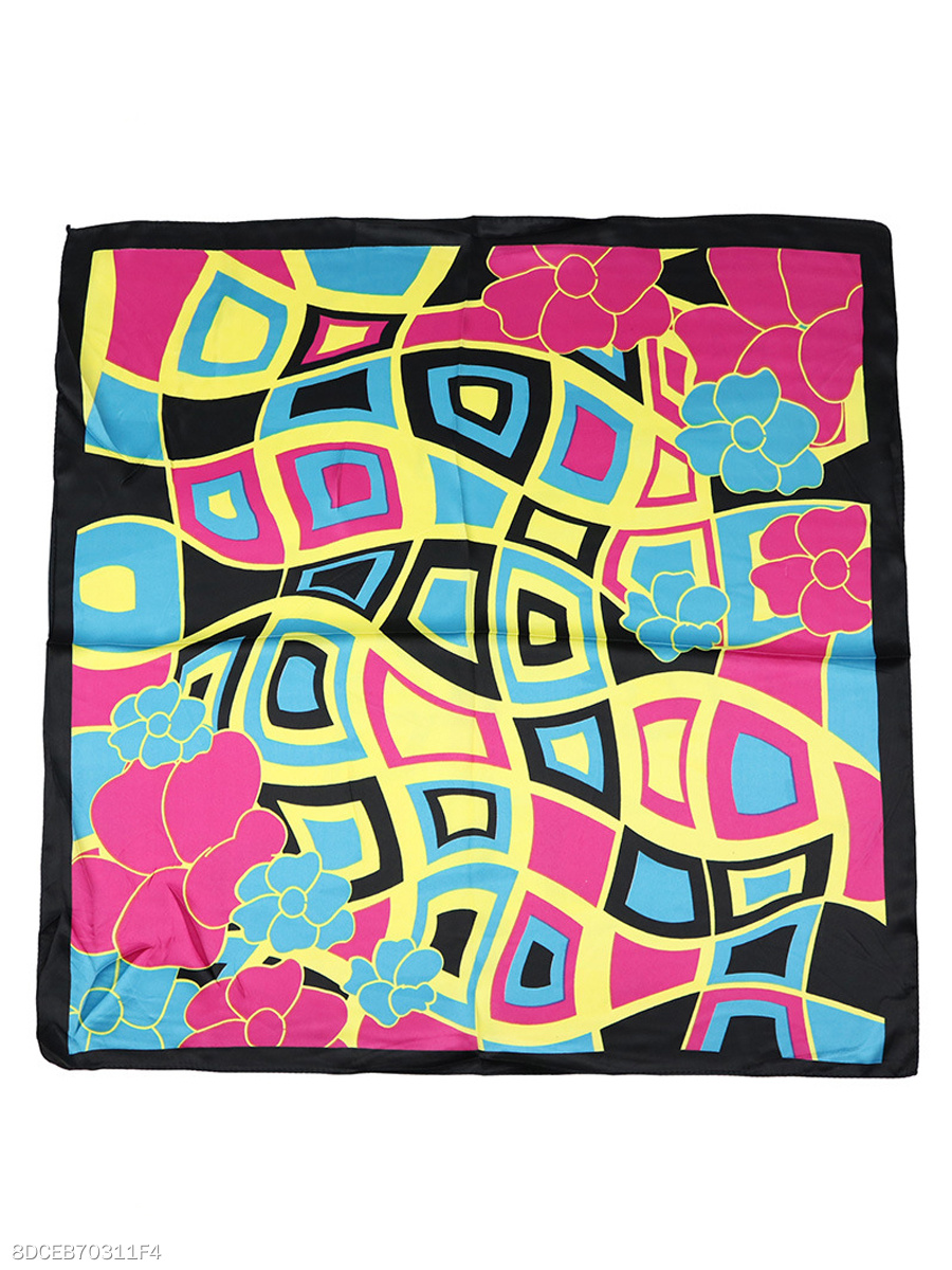 Geometric Colorful Squared Silk Scarf