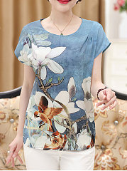 Summer  Polyester  Women  Round Neck  Floral Printed  Short Sleeve Blouses