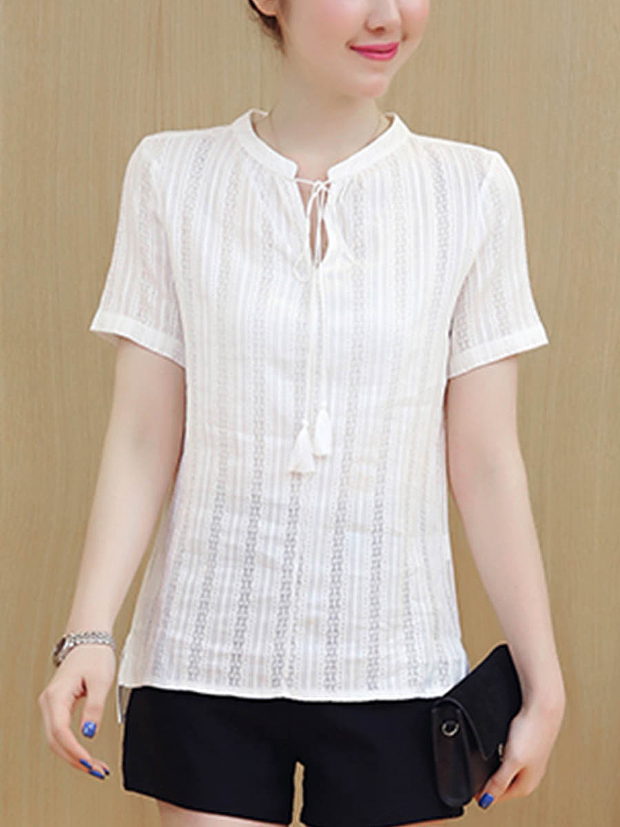 Tie Collar Side-Vented Plain Blouse