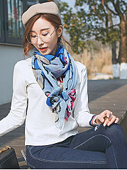 New  Retro Cotton Abstract Floral Print Long Scarf
