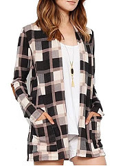 Collarless  Patch Pocket  Plaid  Long Sleeve Cardigans