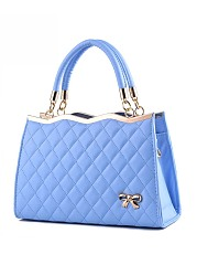 Quilted Bowknot Plain Pu Shoulder