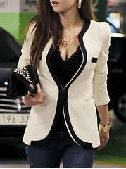 Modern Collarless Contrast Trim Plain Blazer
