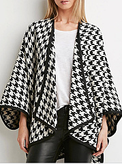 Lapel  Plaid  Long Sleeve Coats