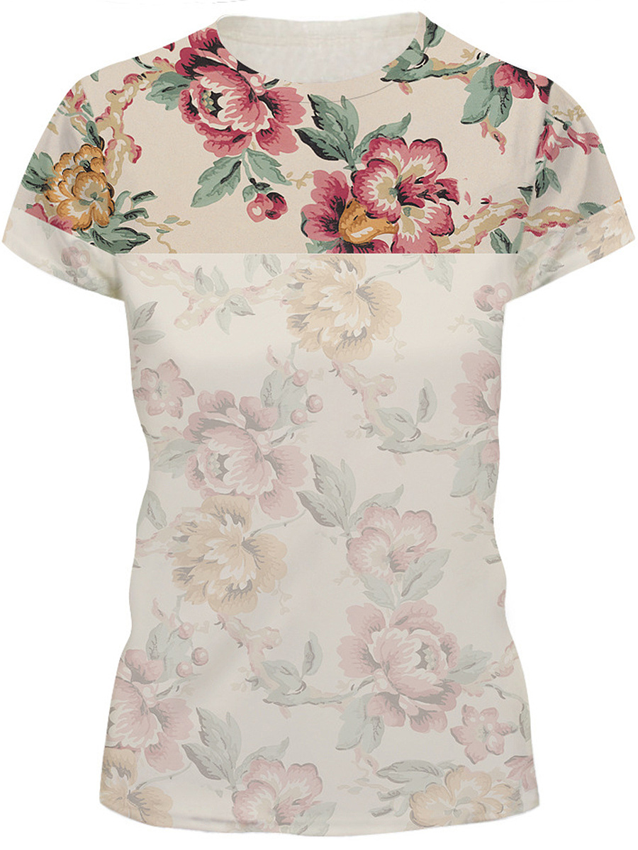 Floral Printed Round Neck Short Sleeve T-Shirt