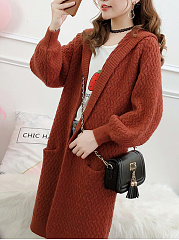 Hooded  Slit Pocket  Plain  Puff Sleeve  Long Sleeve Coats