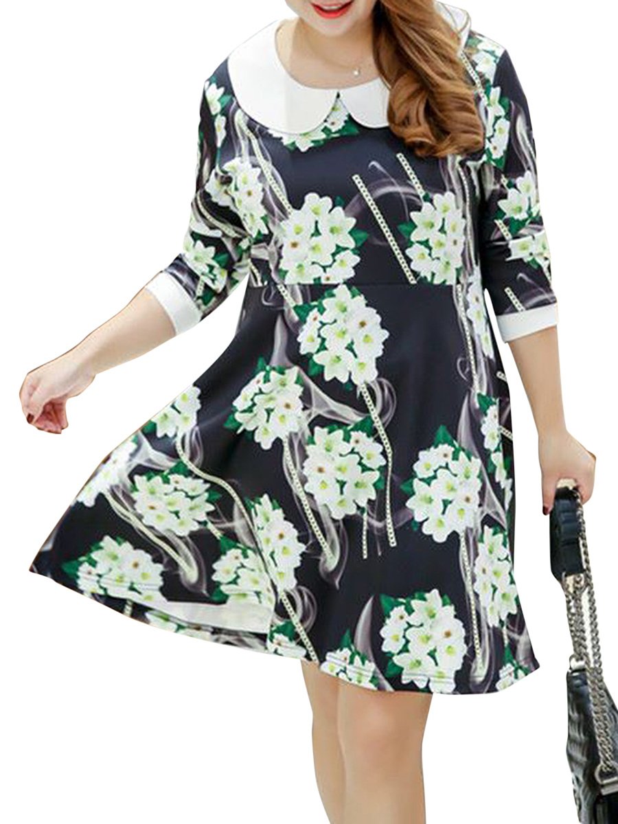 Doll Collar Floral Printed Plus Size Flared Dress