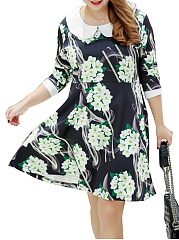 Doll-Collar-Floral-Printed-Plus-Size-Flared-Dress