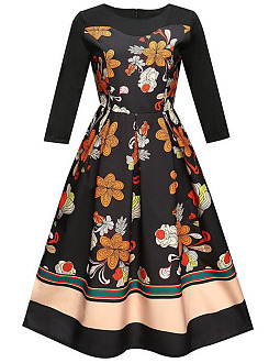 Vintage Round Neck Printed Skater Dress