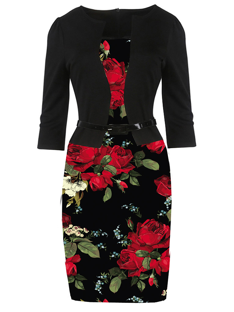 Floral Printed Belt Bodycon Dress