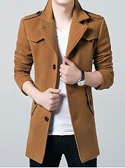 Men-Lapel-Plain-Flap-Pocket-Single-Breasted-Woolen-Coat