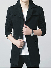 Men Lapel Plain Flap Pocket Single Breasted Woolen Coat