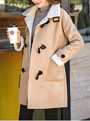 Lapel Patch Pocket Fleece Lined Coat