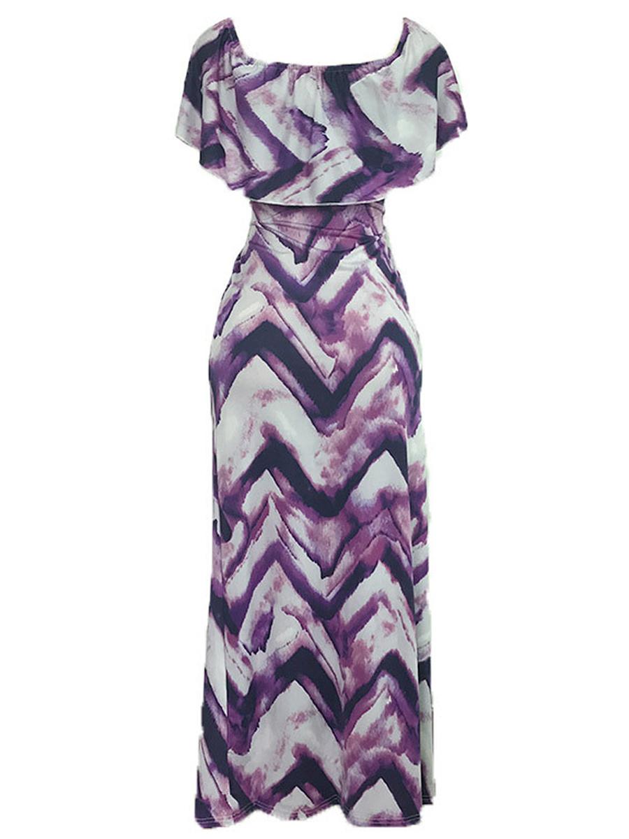 Off Shoulder  Printed Maxi Dress