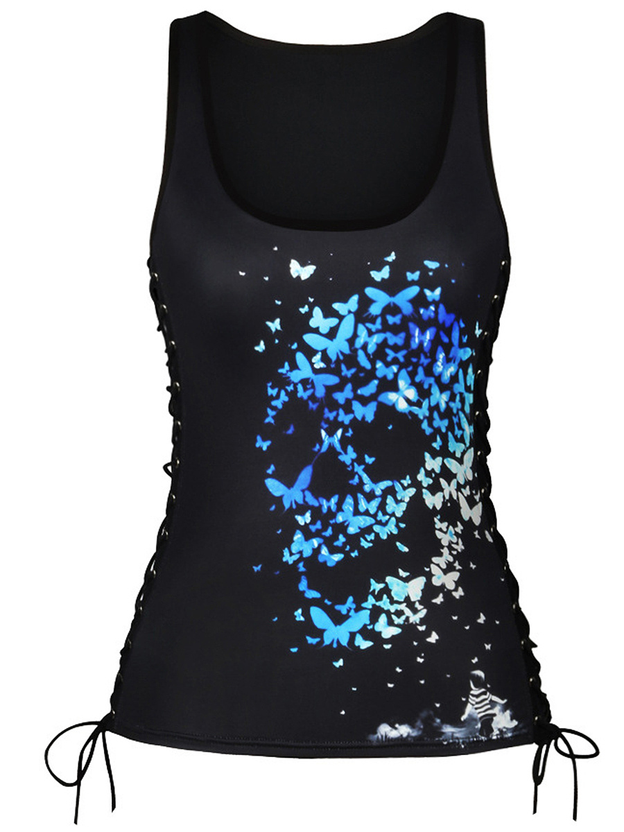 Scoop Neck Butterfly Skull Lace-Up Sleeveless T-Shirt