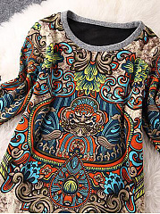 Round Neck  Tribal Printed Casual Shift Dress