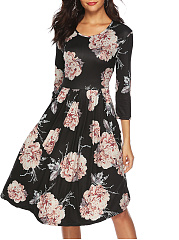 Round Neck  Ruched  Floral Printed Skater Dress