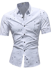 Turn Down Collar  Printed  Short Sleeve Short Sleeves