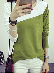 Autumn Spring Summer  Polyester  Women  Round Neck  Color Block Long Sleeve T-Shirts